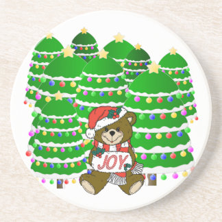 Christmas Bear with JOY Sign and ChristmasTrees Beverage Coaster