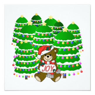 Christmas Bear with JOY Sign and ChristmasTrees 5.25x5.25 Square Paper Invitation Card