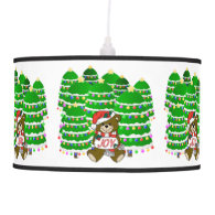Christmas Bear with JOY Sign and ChristmasTrees Pendant Lamps