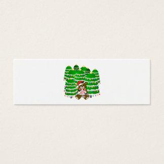 Christmas Bear with JOY Sign and ChristmasTrees Mini Business Card