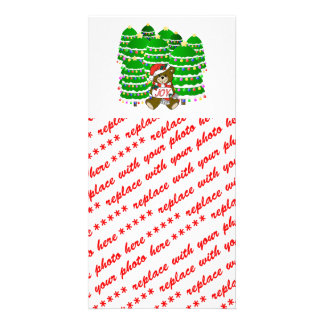 Christmas Bear with JOY Sign and ChristmasTrees Photo Card