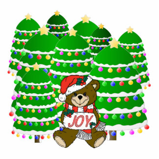 Christmas Bear with JOY Sign and ChristmasTrees Acrylic Cut Out