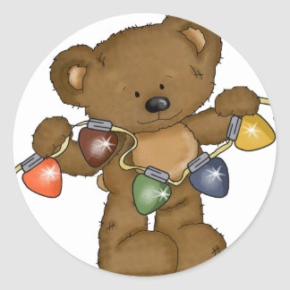 Christmas bear with lights classic round sticker