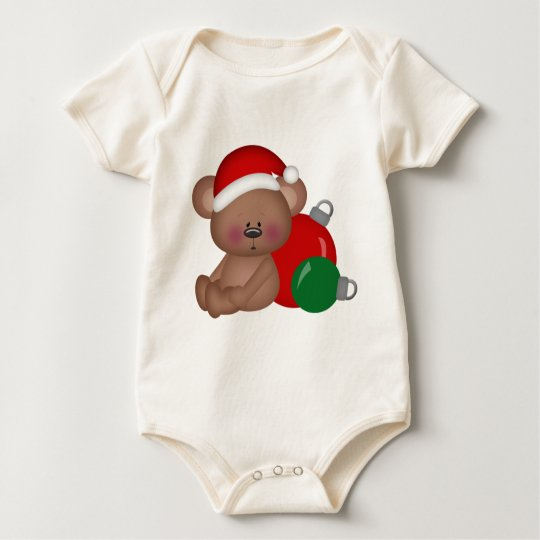 Christmas_Bear with ornaments Baby Bodysuit