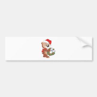 Christmas Bear with Wreath Car Bumper Sticker