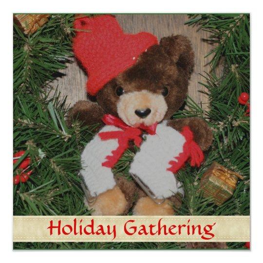 Christmas Bear Wreath Holiday Party Invitation