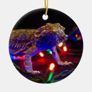 Christmas Beardie Double-Sided Ceramic Round Christmas Ornament
