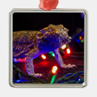 Christmas Beardie Square Metal Christmas Ornament