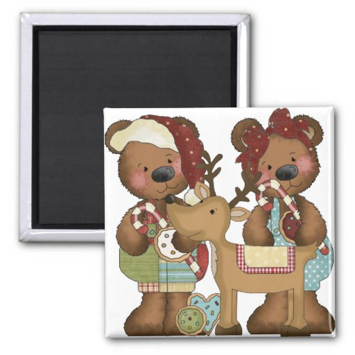 Christmas Bears and Reindeer Magnet
