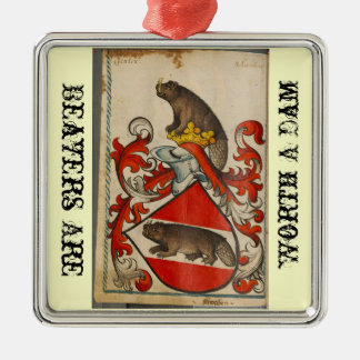 Christmas beaver square metal christmas ornament