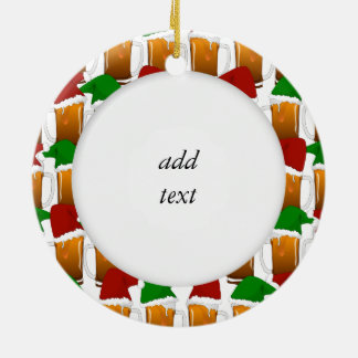 Christmas Beer Cheer Ceramic Ornament