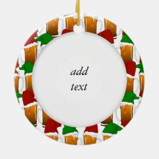 Christmas Beer Cheer Ceramic Ornament