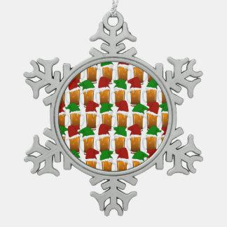 Christmas Beer Cheer Snowflake Pewter Christmas Ornament