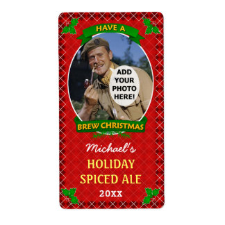 Christmas Beer Custom Photo Red Argyle Homebrewing Label