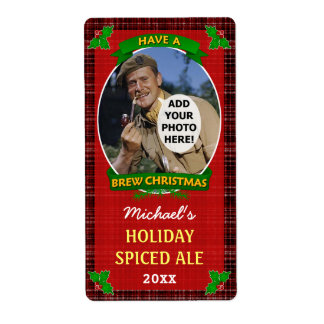 Christmas Beer Custom Photo Red Plaid Homebrewing Shipping Label