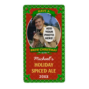Christmas Beer Customized Photo Green Argyle Personalized Shipping Labels