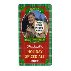 Christmas Beer Customized Photo Green Plaid Custom Shipping Label
