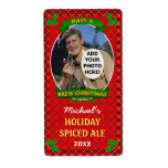 Christmas Beer Customized Photo Red Argyle Shipping Label
