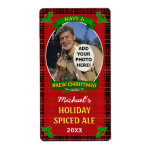 Christmas Beer Customized Photo Red Plaid Shipping Label
