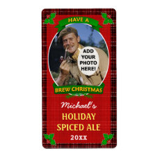 Christmas Beer Customized Photo Red Plaid Personalized Shipping Label