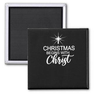 Christmas Begins With Christ Christmas Christian Magnet