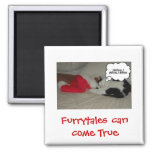 Christmas Believe Black and White Kitten 2 Inch Square Magnet