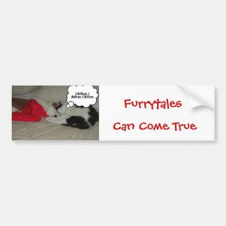Christmas Believe Black and White Kitten Bumper Sticker