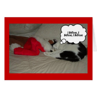 Christmas Believe Black and White Kitten Card