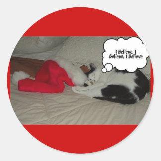 Christmas Believe Black and White Kitten Classic Round Sticker