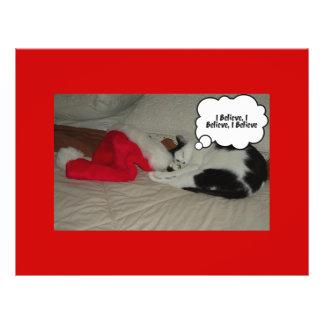 Christmas Believe Black and White Kitten Flyer