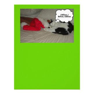 Christmas Believe Black and White Kitten Letterhead