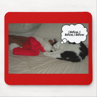 Christmas Believe Black and White Kitten Mouse Pad
