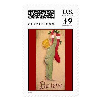 Christmas - Believe Postage Stamp