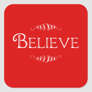 Christmas Believe Red sticker