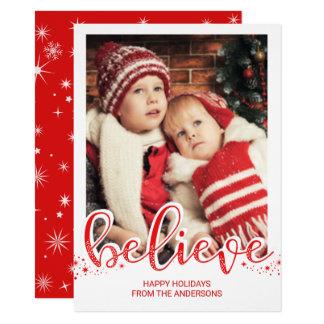 Christmas Believe Whimsical Hand Script Photo Card