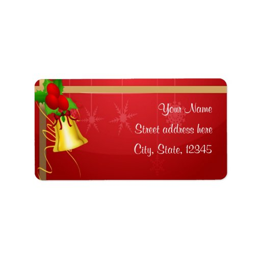 Christmas Bell and Ribbon Personalized Address Labels