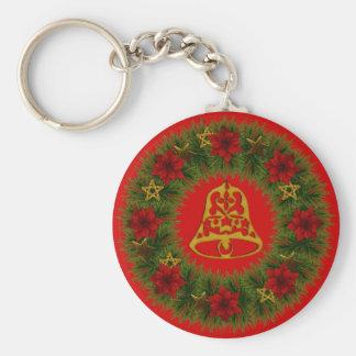 Christmas Bell and Wreath Basic Keychain
