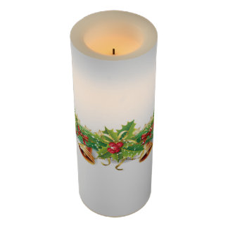 Christmas Bell Garland Large Flameless Candle