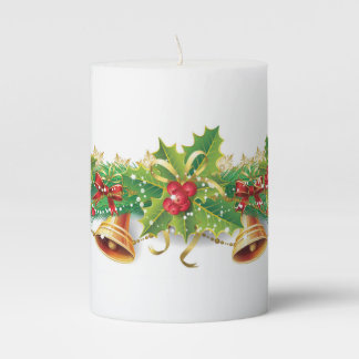 Christmas Bell Garland Pillar Candle