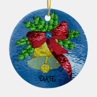 Christmas Bell in Stained Glass Ceramic Ornament