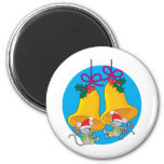 Christmas Bell Mice 2 Inch Round Magnet