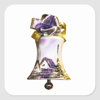 christmas bell new year square sticker