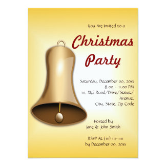 "Christmas Bell on an Orange Background 5.5"" X 7.5"" Invitation Card"