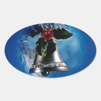 Christmas Bell Oval Sticker