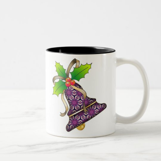 Christmas Bell with Holly-06 Two-Tone Coffee Mug
