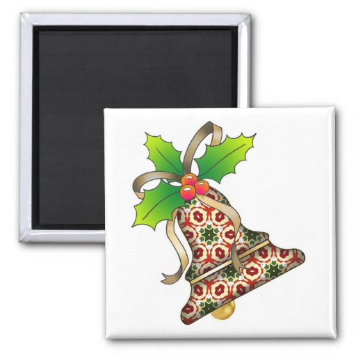 Christmas Bell with Holly-09 Fridge Magnet