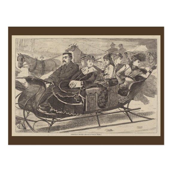 Christmas Belles 1869   Blue Beach Song™ Postcard