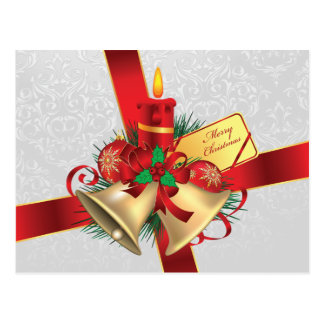 Christmas Bells and Candle Postcard
