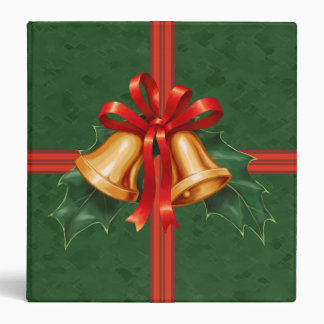Christmas Bells and Holly Leaves Green 3 Ring Binder