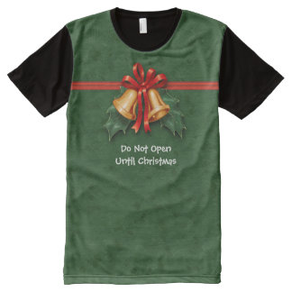 Christmas Bells and Holly Leaves Green All-Over Print T-shirt